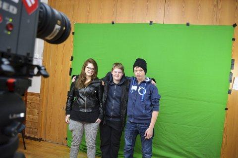 Grønnskjerm: Maiken Amundsen, Espen Engh og Henrik Hauer har lært mye om videoproduksjon.