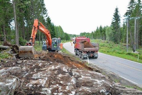 FYLKESVEI 120: Bildet er tatt ved en nå avsluttet utbedring av fylkesvei 120 sør for Skjellfoss.