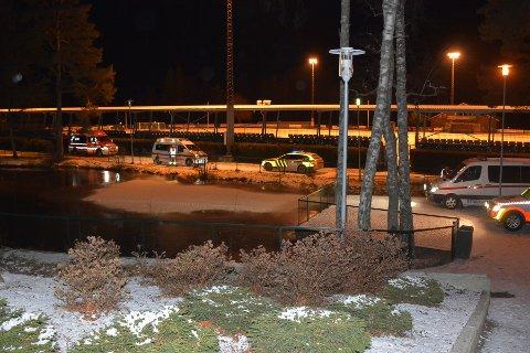 I DAMMEN: 7-åringen funnet omkommet i parkdammen i Askim Folkepark. Dammen er gjerdet inn.