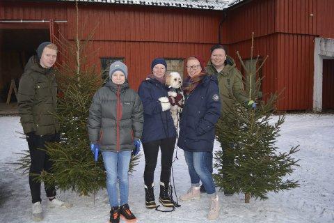Tradisjon: Jørgen Jøtlo (17), Jesper Jørlo (12). Therese Jørlo (45), Emilie Jørlo (19) og Pål Wærn Jørlo (45) mener det er viktig å hogge sitt eget juletre