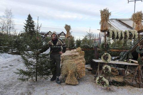 Selger mye: Stene Berg har drevet med juletresalg i mange år, og merker ikke en nedgang i salget etter økningen av solgte plasttre.