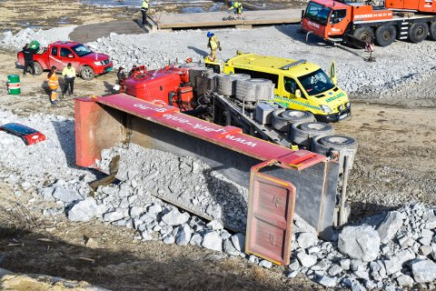 Ulykke inne på deponi ved Skjørten i ASkim