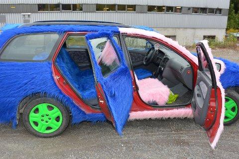 PELSKLEDD: Bilen er pelskledd både innnvendig og utvendig. Bare viktige sikkerhetsdetaljer og driftsdetaljer som lys, airbag og luftinntak er fri for pels.