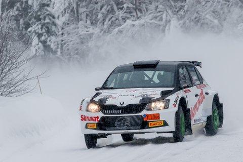 INNLEID: Oscar Solberg kjørte en Skoda Fabia R5 - leid av sin halvbror Pontus Tidemand