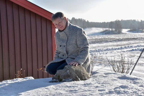 Bjørn nummer tre: Dette er den tredje murbjørnen med tilknytning til østre linje. Den ligger i hagen til Jorunn Duserud. - Barnebarna mine leker med den. Om sommeren får den både mat og vann, forteller hun.