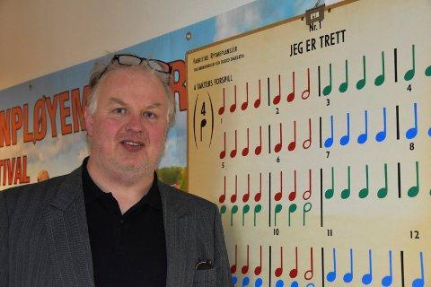 Minner fra Båstad skole: Denne muskkplakaten med noter fra barnevisen «Jeg er trett» er fra Båstad skole.