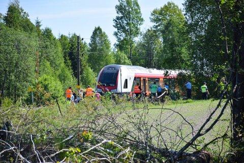 PÅKJØRT: Ulykken skjedde mellom Knapstad og Spydeberg på Østre linje.