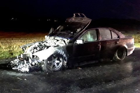 Bilen var totalskadd etter brannen.