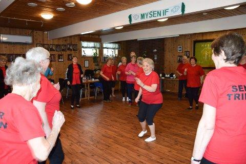 MED HUMØR: – Jeg har stor glede av å lede seniortrimmen, sier Grethe Løken (83). Hun påpeker at både den fysiske aktiviteten og det sosiale er svært viktig for seniorene.