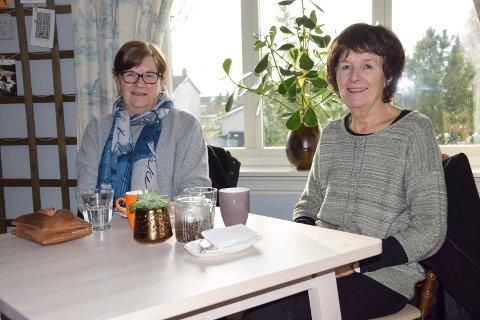 LITTERÆRT PÅFYLL: Bokormene Liv Belgen (69, t.v.) fra Svinndal og Eva Dybedahl (65) fra Knapstad kom til kafeen for en kopp kaffe og litterært påfyll.