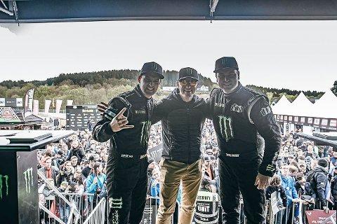 Andreas Bakkerud (t.v.) og Liam Doran kunne nyte godt av en engasjert og entusiastisk Petter Solberg, som delte alt av erfaring og kunnskap for å hjelpe RX Cartel opp og frem.