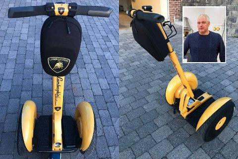 GUL: Det finnes ikke mange knæsj gule Segwayer med Lamborghini-logo.