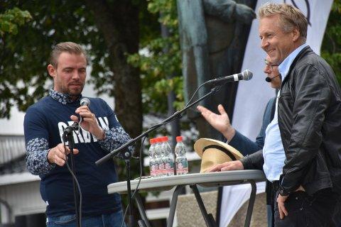 HET DEBATT: Saxe Frøshaug måtte heve stemmen da Marius R. Hagen utfordret ham på jordvern og dyrevelferd.