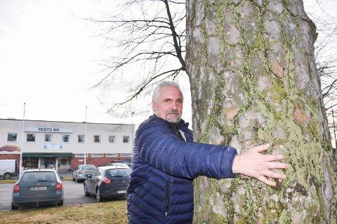 Vil ha historien. Petter Murtnes i KM-Eiendom as som nå eier området, vil ha svar på hvorfor denne furua ble verne i 1930. – Den har sikkert en interessant historie, sier han.