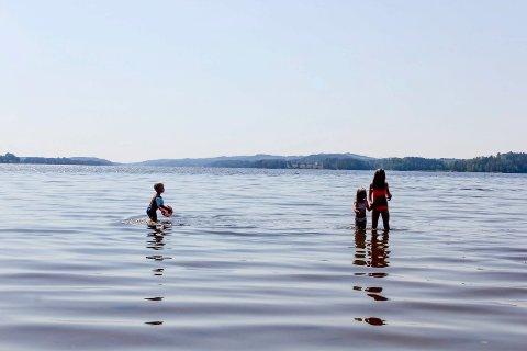 Tjuvholmen i Rødenessjøen er en av de populære badeplassene i Marker. Vannkvaliteten er prima.