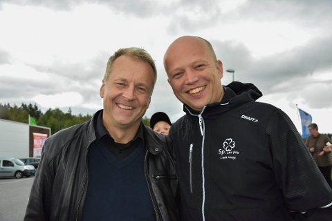 Indre Østfold ordfører Saxe Frøshaug (Sp) og Senterparti-leder Trygve Slagsvold Vedum skal begge gjeste den digitale årskonferansen. Bilde er tatt i forbindelse med valgkamp i 2019.