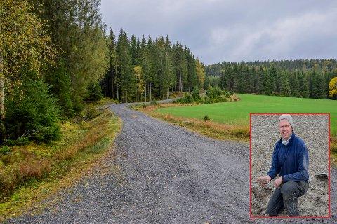 Denne skogsbilveien går fra fylkesvei 843 (Damholtveien) og inn i planområdet som ligger et kort stykke unna jordekanten. Grunneier Ole Petter Aarnæs (innfelt) ønsker å regulere et areal på 95 dekar til deponi.