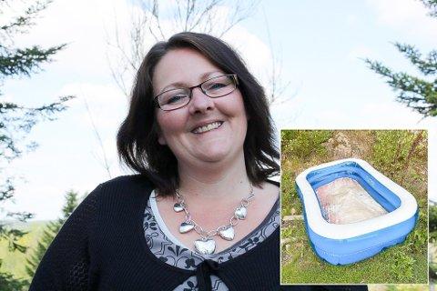 LUFTETUR: Bassenget til Cecilie Dybhavn og hennes Papillon-hund på 12 år, tok seg en liten luftetur i vinden.