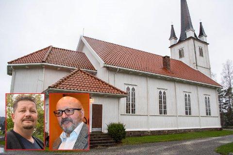 Høyres Kenneth Sirevåg (innfelt, t.v.) og Venstres Bjørn Borgund ville avslå søknaden fra Marker kirkelige fellesråd om å bli med på et spleiselag med menighetene; her fra Øymark kirke.