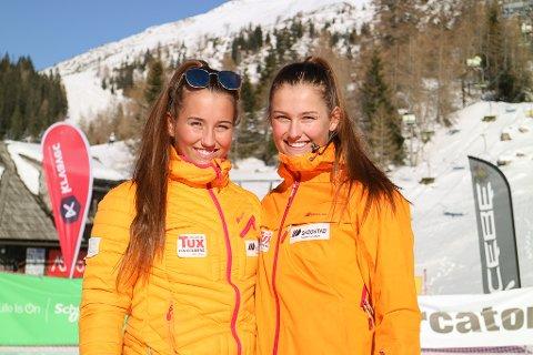 SKISØSTRE: Andrea Fiskaa Haugen og Eirin Fiskaa Haugen frå Luster deltek begge i verdscupen for junior i Slovenia. (Foto: Gunnhild Vangsnes)