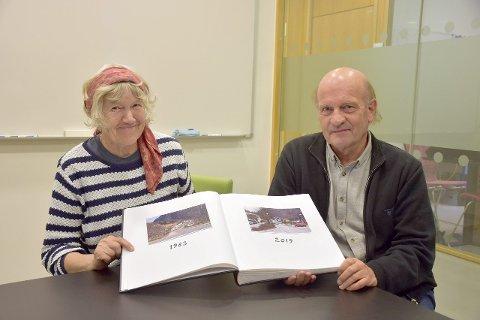STUDERER ENDRINGANE: Ingvild Austad, professor emirata ved HVL og Leif Hauge, førsteamanuensis i landskapsøkologi ved HVL. (Foto: Ingvild Bakken)
