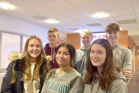 STYRTE SAMTALEN: Anna Hjellum (16), Line-Kristine Karlsen Holene (16), Embla Gjerde Sviggum (15), Ivar Yttri Hamre (16), Benjamin Haug Toklum (16) og Taavi-Topias Henell (16) var ordstyrarane då 1-STC var i møte med Stortingspresidenten.