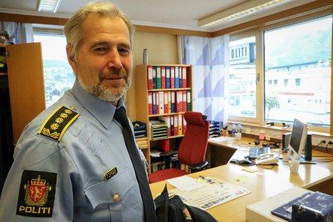 BETYDELEG ENDRING: Politisjef Arne Johannessen seier det er ein betydeleg vekst i psykiatrioppdrag for politiet frå 2019 til 2020.