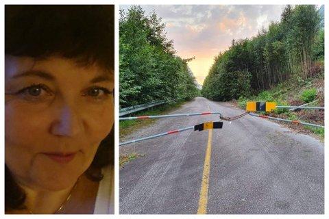 SKUMMELT:Bodil Kristin Ripe bur like i nærleiken av denne bommen ved gamle riksveg 5 i Kjøsnesfjorden. Frå tid til anna bryt folk og sjåførar seg forbi denne. Då ventar ei rasfarleg strekning.