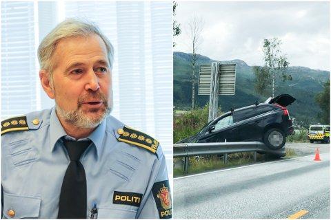 TRAFIKKUHELL: – Det har vore færre alvorlege ulykker, men det har vore mange trafikkuhell med mindre skadeomfang i sommar, Politisjef i Sogn og Fjordane, Arne Johannessen.
