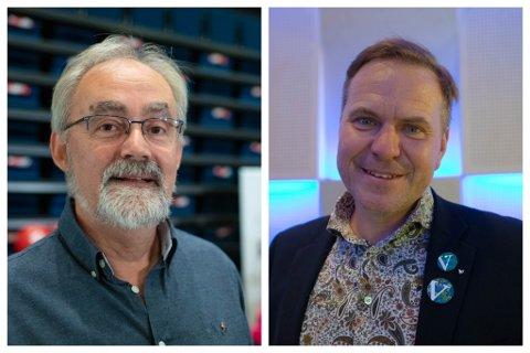 UTJAMNINGSMANDATET: Raudt og Geir Oldeide (til venstre) eller Alfred Bjørlo og Venstre? Slik det ser ut no, er det ein av desse politikarane som kan enda opp med utjamningsmandatet.