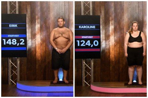 Karoline Bjørnsen og Eirik Larsen havnet på konkurrerende lag på boot campen. Hun hadde en startvekt på 124 kilo, mens han var 148 kilo. Hvor vekta stopper nå, kan de foreløpig ikke røpe.