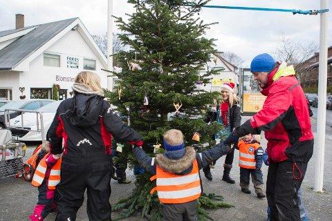 RUNDT OG RUNDT: Barna fra Sømme barnehage ville teste hvordan treet er å gå rundt. De fikk de.