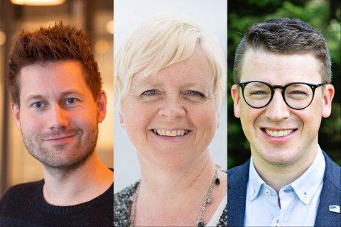 Kjartan Alexander Lunde (V), Solveig Ege Tengesdal (KrF) og Ole Ueland (H) gleder seg over ekstra midler til kulturinstitusjoner i Rogaland.