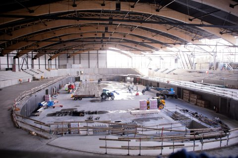 Fra øverste etasje i Sola Arena.