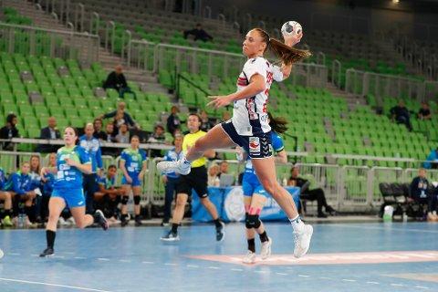 Camilla Herrem noterte seg for elleve scoringer i kampen mot Slovenia.