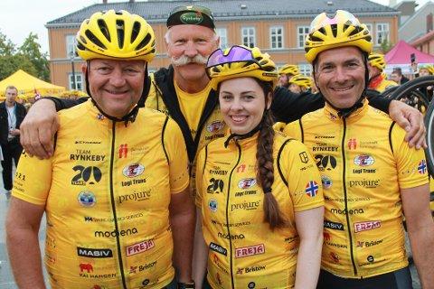 Denne kvartetten har vært med og syklet inn flere millioner kroner og Robert Sæbø, Jan Klingsheim, Jostein Økland og Catharina Nilsen Albrechtsen ble feiret som helter etter at de var fremme i Trondheim.