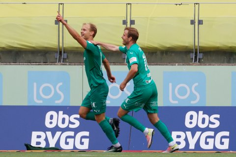 JUBEL: Morten Bjørlo jubler etter scoring for HamKam under kampen i 1. divisjon mellom Start og HamKam på Sør Arena i Kristiansand mandag.