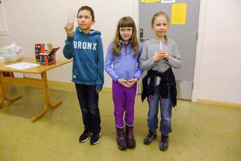 ASPIRANTER: Unge skyttere er fra venstre Kevin og Amanda Eastwood og Ronja Teien.