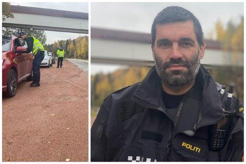 Arvid Dahl (t.h.) i Utrykningspolitiet (UP) var overrasket over hvor mange som kjørte for fort i 70-sonen på Svelvikveien. Tidvis var det mye å gjøre for gjengen som hanket inn bilene.
