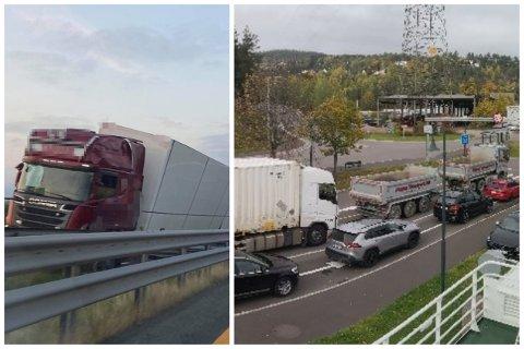 Lastebilen som krasjet på E18 førte til lange køer – også i Svelvik.