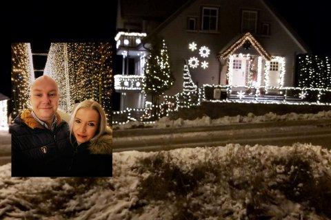 André og Henriette Melby Hafsaas elsker å pynte huset. Dette bildet er fra i fjor - i år er kan man forvente enda flere lys.
