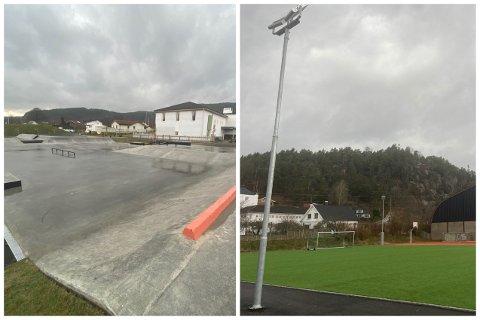 Til venstre er den nye skateparken, til høyre den nye fotball-/kunstisbanen.