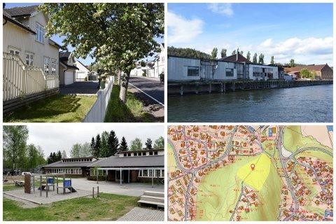Øverst fra venstre: Storgaten 116 og Svelvik Papirfabrikk. Nederst fra venstre: Ebbestad skole og skjermdump av tomta i området mellom Nordliveien og Orelundveien.