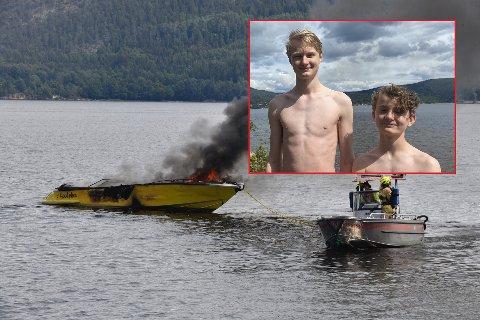 Sander Andreas og Mathias Brede Magnussen ble vitne til den dramatiske båtbrannen: – Det var mye røyk og flammer, forteller de to til Svelviksposten.