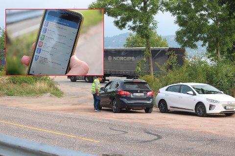To sjåfører ble tatt i å kjøre for fort på Svelvikveien, onsdag. Arvid Dahl i UP tror de hadde kunnet ta flere, hadde det ikke vært for appen som varsler om politikontroller.