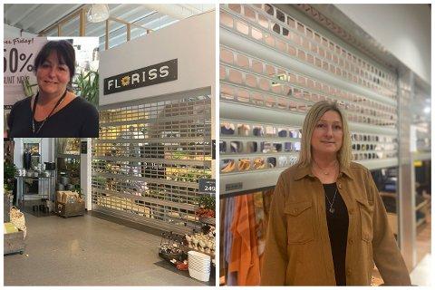 Anne Gry Mandt Pettersen (t.v.) og Mette Hovland åpner dørene til butikkene, onsdag. Men ikke inne på selve «kjøpesenteret».