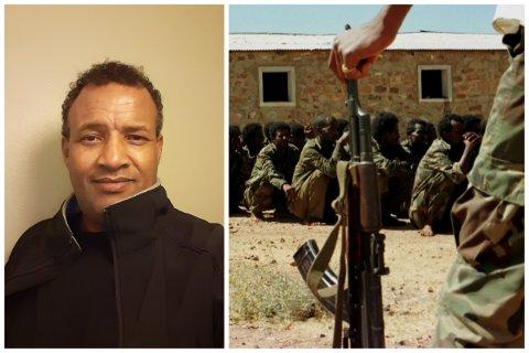 Yohannes Araya forteller at han flyktet fra Eritrea for å ikke bli en del av militæret. Bildet til høyre er en eritreisk soldat som passer på 100 etiopiske fanger nær Asmara, hovedstaden i Eritrea. Bildet er tatt 10. februar 1999.