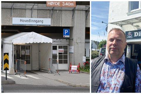 Steen Jensen forteller at det ikke var tilgjengelige spritdispensere ved inngangen til sykehuset, fredag.