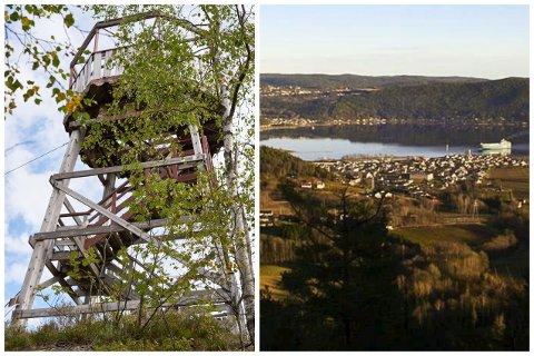 Seteråstårnet til venstre, utsikten fra Utsikten til høyre.