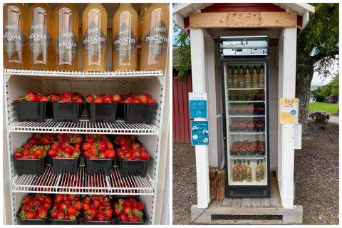 Slik så det ut i kjøleskapet til Fruktgården i helgen. Alle bærene ble solgt.